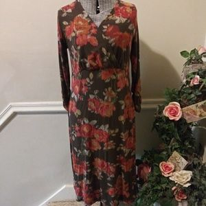 EUC J.Jill Brown Floral Wrap Bodice Dress